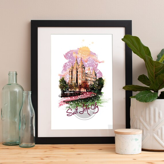 Salt Lake City Print, Salt Lake City Skyline, Salt Lake City Art, Salt Lake City Poster, Salt Lake City Watercolor, Salt Lake City Art Print
