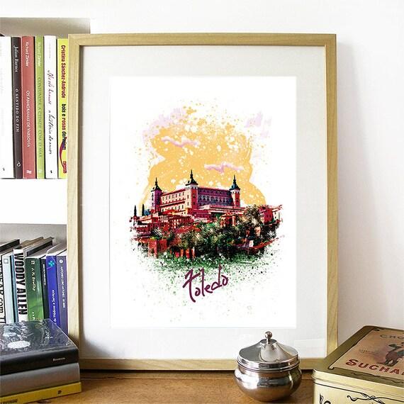 Toledo Print, Toledo Skyline, Toledo Art, Toledo Poster, Toledo Watercolor, Toledo Art Print, Toledo Map, Toledo Wall Art