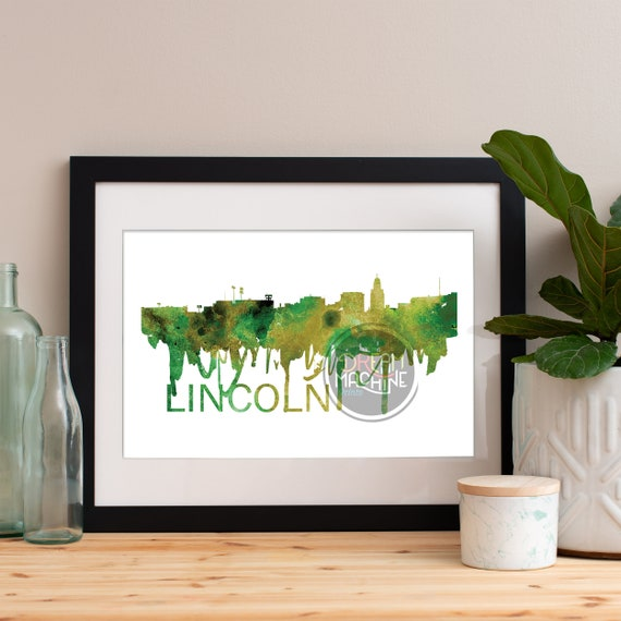 Lincoln Watercolor Skyline, Lincoln Skyline, Lincoln Art, Lincoln Poster, Lincoln Print, Lincoln Art, Lincoln Map, Lincoln Wall Art