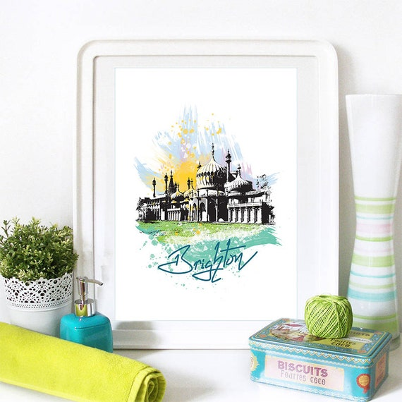 Brighton Print, Brighton Skyline, Brighton Art, Brighton Poster, Brighton Watercolor, Brighton Art Print, Brighton Map, Brighton Wall Art