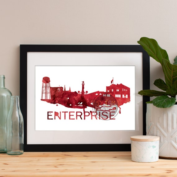 Enterprise Watercolor Skyline Red, Enterprise Skyline, Enterprise Art, Enterprise Poster, Enterprise Print, Enterprise Art, Enterprise Map