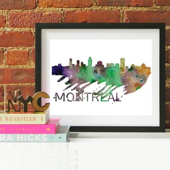 Montreal Watercolor Skyline, Montreal Skyline, Montreal Art, Montreal Poster, Montreal Print, Montreal Art, Montreal Map, Montreal Wall Art