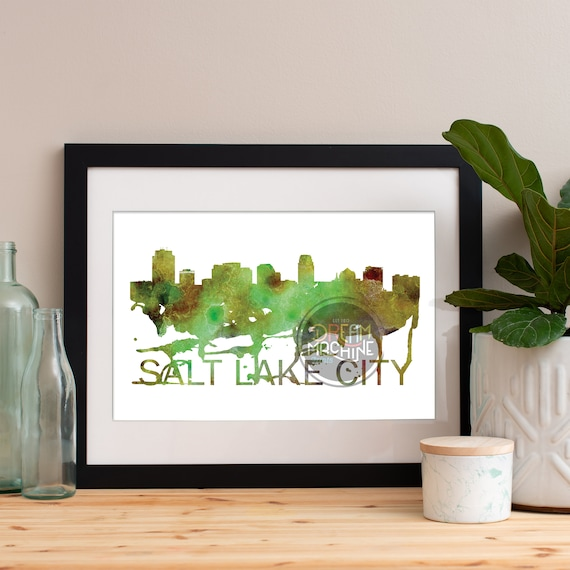 Salt Lake City Watercolor Skyline, Salt Lake City Skyline, Salt Lake City Art, Salt Lake City Poster, Salt Lake City Print, Salt Lake City