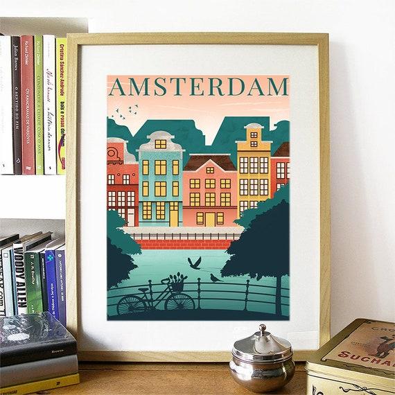 Amsterdam Print, Amsterdam Skyline, Amsterdam Art, Amsterdam Poster, Amsterdam Watercolor, Amsterdam Art, Amsterdam Map, Amsterdam Wall Art