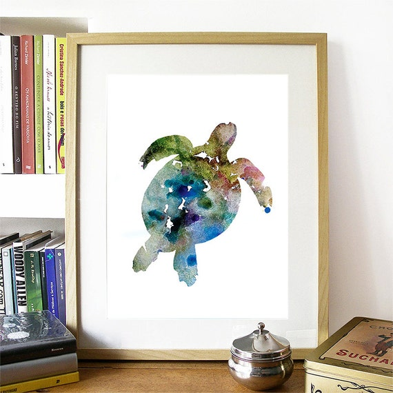 Seaturtle Print Blue and Green Watercolor