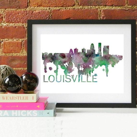 Louisville Watercolor Skyline, Louisville Skyline, Louisville Art, Louisville Poster, Louisville Print, Louisville Art, Louisville Map
