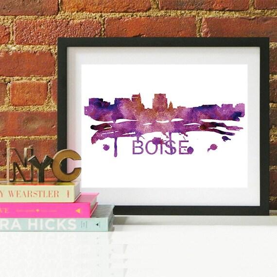 Boise Watercolor Skyline, Boise Skyline, Boise Art, Boise Poster, Boise Print, Boise Art, Boise Map, Boise Wall Art, Idaho Art