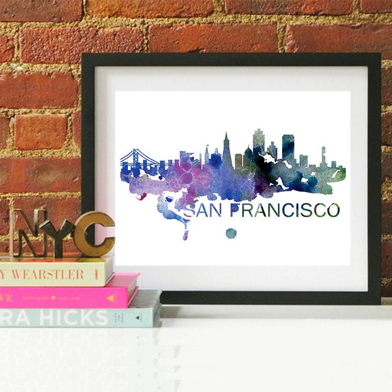 San Francisco Watercolor Skyline, San Francisco Skyline, San Francisco Art, San Francisco Poster, San Francisco Print, San Francisco Art