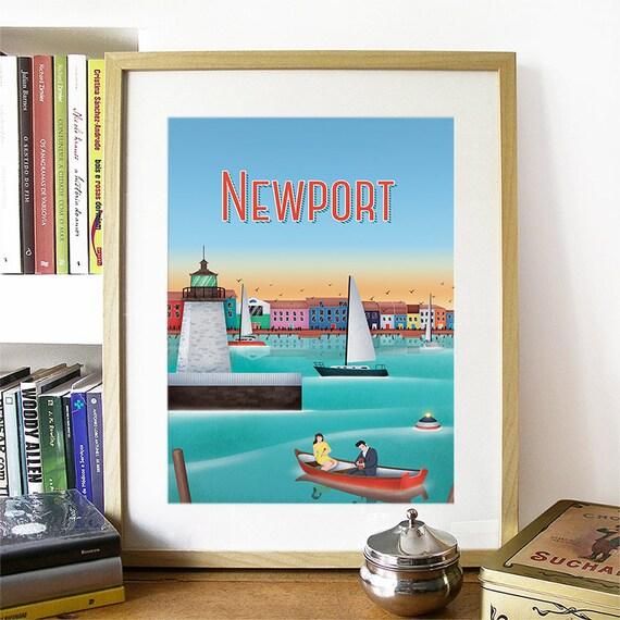 Newport Print, Newport Skyline, Newport Art, Newport Poster, Newport Watercolor, Newport Art Print, Newport Map, Newport Rhode Island