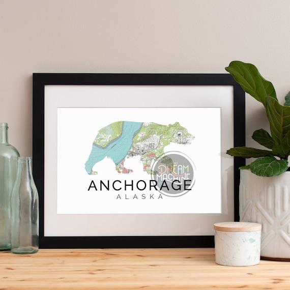 Anchorage Print, Anchorage Skyline, Anchorage Art, Anchorage Poster, Anchorage Watercolor, Anchorage Art Print, Anchorage Map, Anchorage