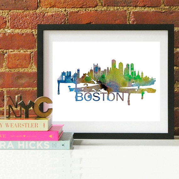 Boston Watercolor Skyline, Boston Skyline, Boston Art, Boston Poster, Boston Print, Boston Art, Boston Map, Boston Wall Art, Massachusetts