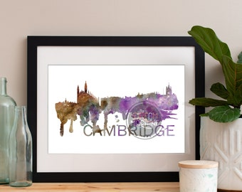 Cambridge Watercolor Skyline, Cambridge Skyline, Cambridge Art, Cambridge Poster, Cambridge Print, Cambridge Art, Cambridge Map, Cambridge