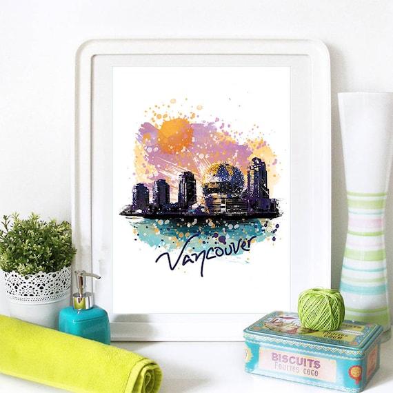 Vancouver Print, Vancouver Skyline, Vancouver Art, Vancouver Poster, Vancouver Watercolor, Vancouver Art Print, Vancouver Map, Vancouver