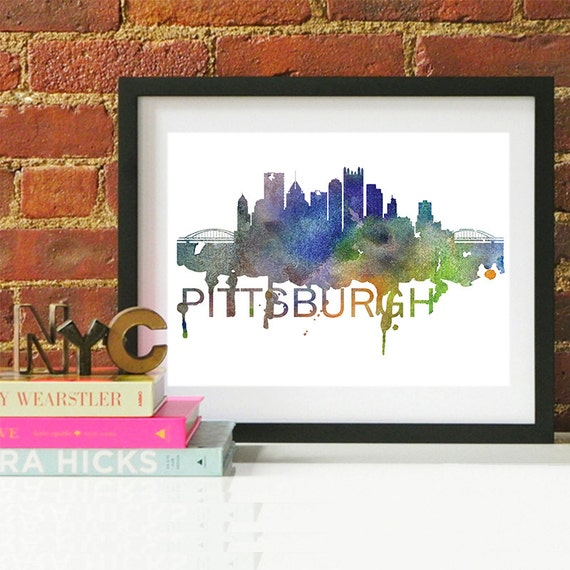 Pittsburgh Watercolor Skyline, Pittsburgh Skyline, Pittsburgh Art, Pittsburgh Poster, Pittsburgh Print, Pittsburgh Art, Pittsburgh Map