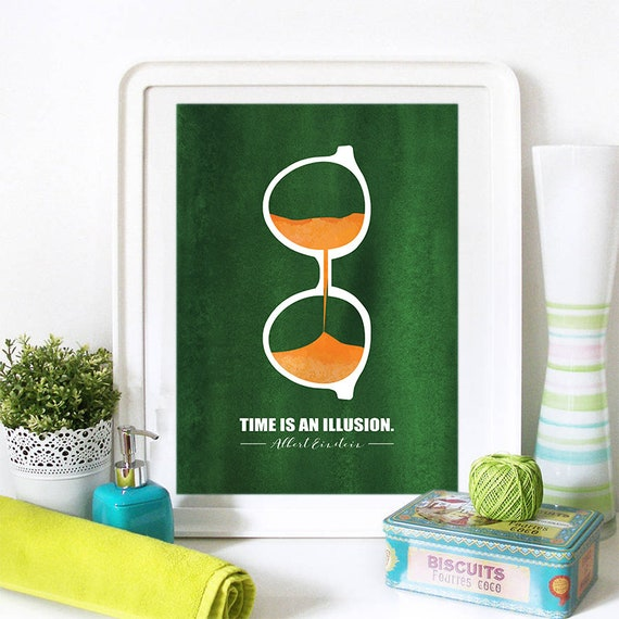 Motivational Poster Time is an Illusion Colorful Poster Art Print colorful Motivational Poster Whimsical Poster