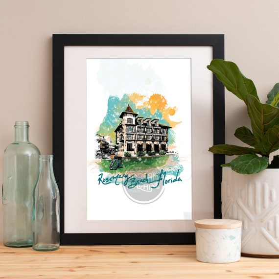 Rosemary Beach Print, Rosemary Beach Skyline, Rosemary Beach Art, Rosemary Beach Poster, Rosemary Beach Watercolor, Rosemary Beach Art Print