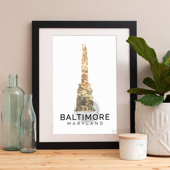 Baltimore Print, Baltimore Skyline, Baltimore Art, Baltimore Poster, Baltimore Watercolor, Baltimore Art Print, Baltimore Map, Baltimore