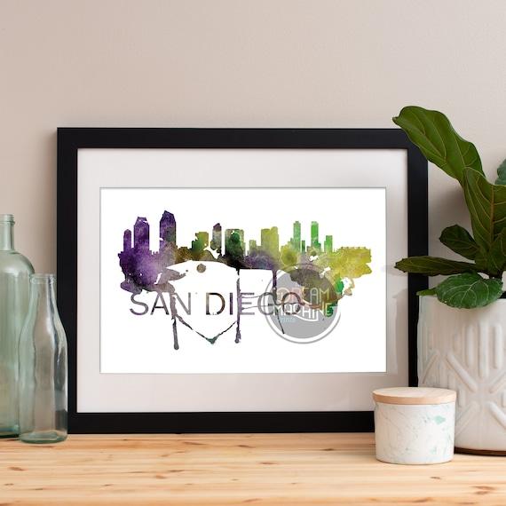 San Diego Watercolor Skyline, San Diego Skyline, San Diego Art, San Diego Poster, San Diego Print, San Diego Art, San Diego Map, San Diego