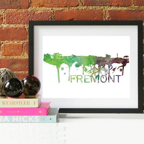 Fremont Watercolor Skyline, Fremont Skyline, Fremont Art, Fremont Poster, Fremont Print, Fremont Art, Fremont Map, Fremont Wall Art