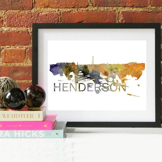 Henderson Watercolor Skyline, Henderson Skyline, Henderson Art, Henderson Poster, Henderson Print, Henderson Art, Henderson Map, Henderson