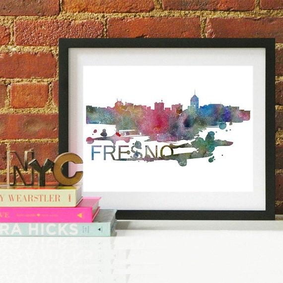 Fresno Watercolor Skyline, Fresno Skyline, Fresno Art, Fresno Poster, Fresno Print, Fresno Art, Fresno Map, Fresno Wall Art, California Art