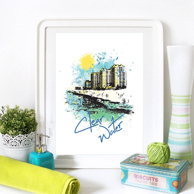 Clearwater Florida Map.Clearwater Print Clearwater Skyline Clearwater Art Clearwater