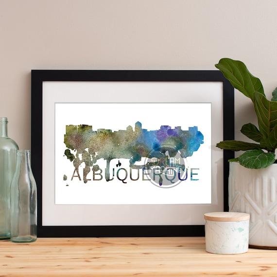 Albuquerque Watercolor Skyline, Albuquerque Skyline, Albuquerque Art, Albuquerque Poster, Albuquerque Print, Albuquerque Art, Albuquerque