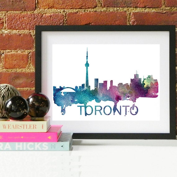Toronto Watercolor Skyline, Toronto Skyline, Toronto Art, Toronto Poster, Toronto Print, Toronto Art, Toronto Map, Toronto Wall Art, Canada