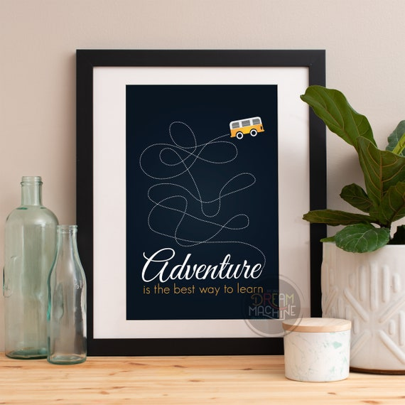 Motivational Poster Adventure Is The Best Way To Learn Colorful Poster Art Print colorful Motivational Poster Whimsical Poster