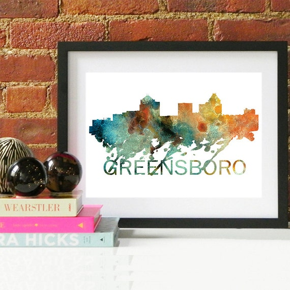 Greensboro Watercolor Skyline, Greensboro Skyline, Greensboro Art, Greensboro Poster, Greensboro Print, Greensboro Art, Greensboro Map