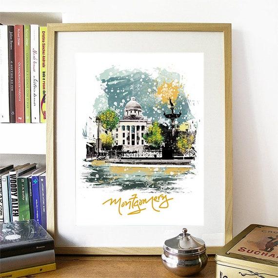 Montgomery Print, Montgomery Skyline, Montgomery Art, Montgomery Poster, Montgomery Watercolor, Montgomery Art Print, Montgomery Map