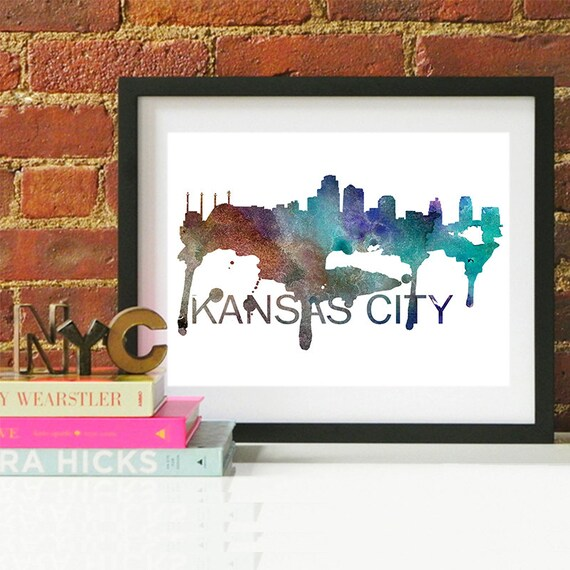 Kansas City Watercolor Skyline, Kansas City Skyline, Kansas City Art, Kansas City Poster, Kansas City Print, Kansas City Art, Kansas City