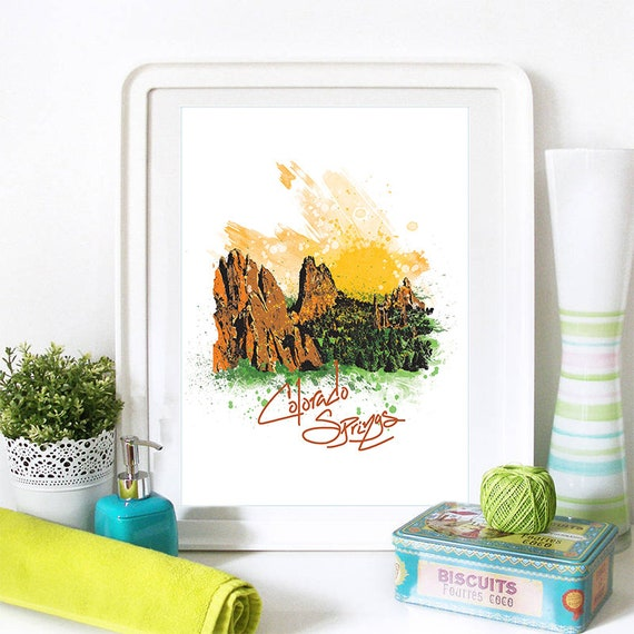 Colorado Springs Print, Colorado Springs Skyline, Colorado Springs Art, Colorado Springs Poster, Colorado Springs Watercolor, Colorado