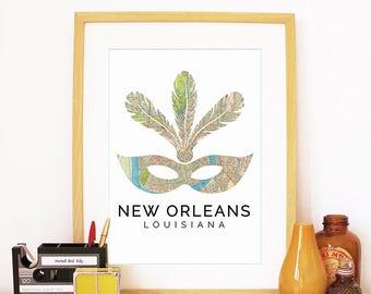 New Orleans Print, New Orleans Skyline, New Orleans Art, New Orleans Poster, New Orleans Watercolor, New Orleans Art Print, New Orleans Map