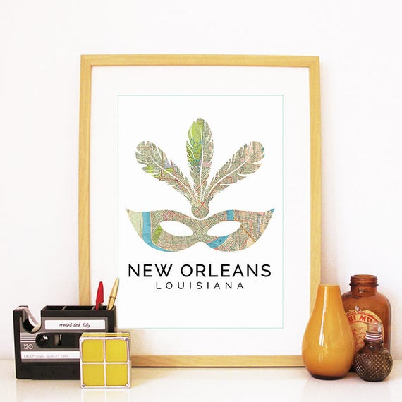 New Orleans Print, New Orleans Skyline, New Orleans Art, New Orleans Poster, New Orleans Watercolor, New Orleans Art Print, New Orleans Map