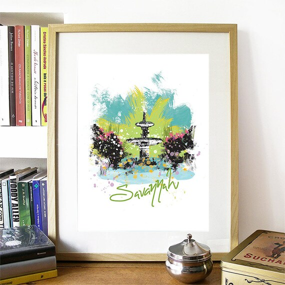 Savannah Print, Savannah Skyline, Savannah Art, Savannah Poster, Savannah Watercolor, Savannah Art Print, Savannah Map, Savannah Wall Art