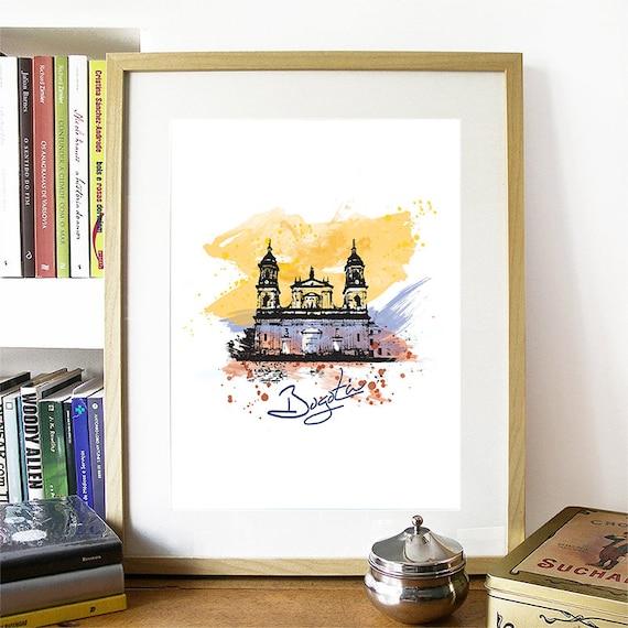 Bogota Print, Bogota Skyline, Bogota Art, Bogota Poster, Bogota Watercolor, Bogota Art, Bogota Map, Bogota Wall Art, Colombia Art
