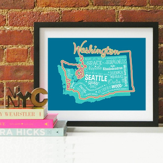 Washington State Print Washington Art Washington Poster Washington Print