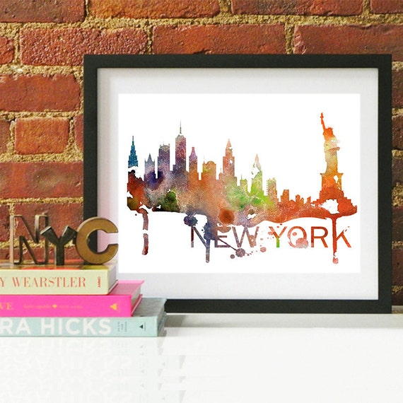 New York City Watercolor Skyline, New York City Skyline, New York City Art, New York City Poster, New York City Print, New York City Art