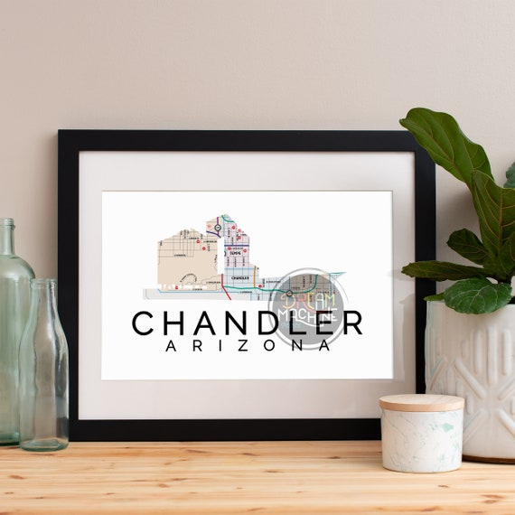 Chandler Print, Chandler Skyline, Chandler Art, Chandler Poster, Chandler Watercolor, Chandler Art Print, Chandler Map, Chandler Wall Art