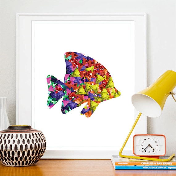 Tropical Fish Print Watercolor Triangles