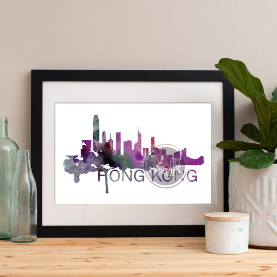 Hong Kong Watercolor Skyline, Hong Kong Skyline, Hong Kong Art, Hong Kong Poster, Hong Kong Print, Hong Kong Art, Hong Kong Map, Hong Kong