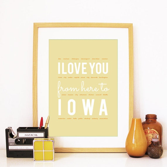 I love you from here to Iowa, Iowa Print, Iowa Skyline, Iowa Art, Iowa Poster, Iowa Watercolor, Iowa Art Print
