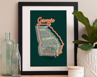 Georgia State Print Georgia Art Georgia Poster Georgia Print