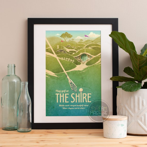 Lord of the Rings Poster, The Shire, Minigolf Travel Poster, Lord of the Rings Art, Lord of the Rings, The Hobbit, LOTR Art, LOTR, Tolkien
