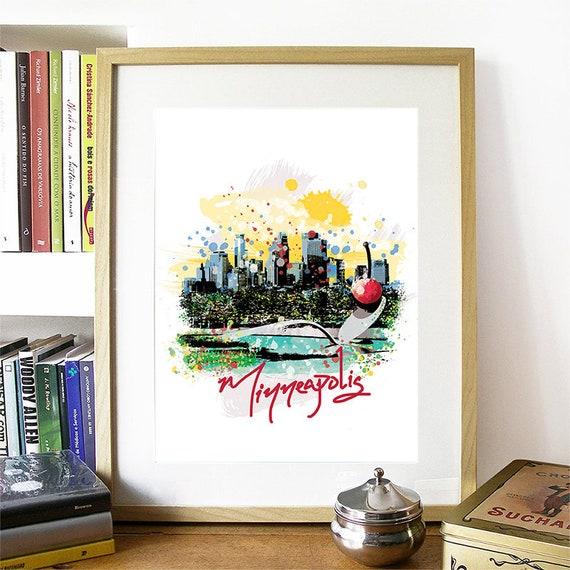 Minneapolis Print, Minneapolis Skyline, Minneapolis Art, Minneapolis Poster, Minneapolis Watercolor, Minneapolis Art Print, Minneapolis Map