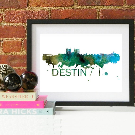 Destin Watercolor Skyline, Destin Skyline, Destin Art, Destin Poster, Destin Print, Destin Art, Destin Map, Destin Wall Art