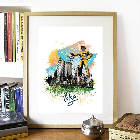 Tulsa Print, Tulsa Skyline, Tulsa Art, Tulsa Poster, Tulsa Watercolor, Tulsa Art Print, Tulsa Map, Tulsa Wall Art, Tulsa Oklahoma