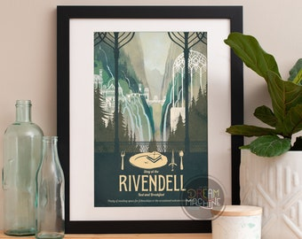 Lord of the Rings Poster Rivendell Bed and Breakfast Travel Poster, Lord of the Rings, LOTR, Rivendell, Lord of the Rings Art, Travel Poster
