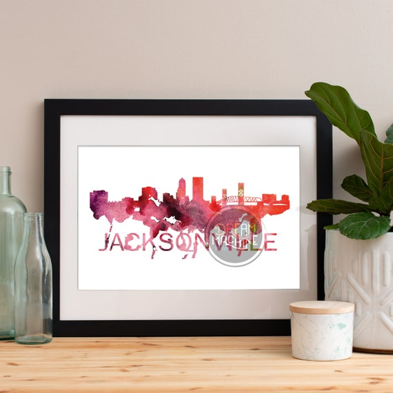 Jacksonville Watercolor Skyline, Jacksonville Skyline, Jacksonville Art, Jacksonville Poster, Jacksonville Print, Jacksonville Art, Florida